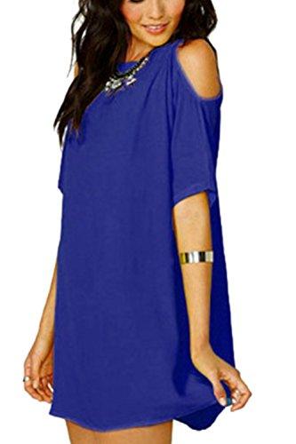 Lose Chiffon schulterfreies Shirtkleid für Damen Blue