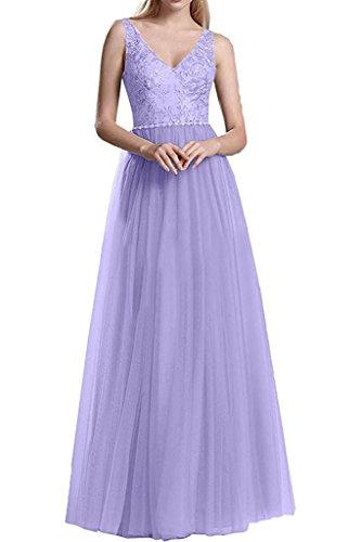 Ausschnitt Spitze Brautmutterkleider V Marie Langes Braut Promkleider Abendkleider La Damen Lilac IaqOfY