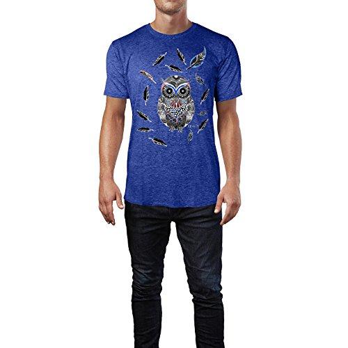 SINUS ART ® Bunte Eulen im Boho Stil Herren T-Shirts in Vintage Blau Cooles Fun Shirt mit tollen Aufdruck