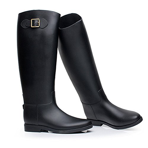 Womens Punk Overknee Pull-On Waterproof Rain Boot Black A US Size 7 ZmKVZ1faDq