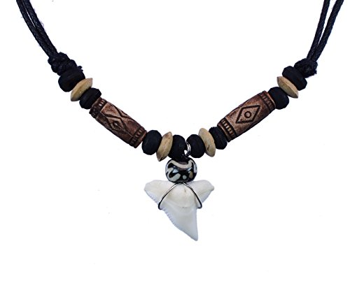 exoticdream Shark Tooth Tribe Beads Necklace Handmade Hawaiian Beach (Brown)