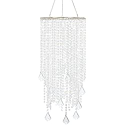 "FlavorThings 2 Tiers 20.5"" Tall Sparkling Iridescent Acrylic Beaded Hanging Chandelier,Great idea for Wedding Chandeliers Centerpieces Decorations and any Event Party Home Decor"