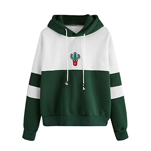 Sport Autumn Warm Hoodie Blouse Fitness Sweater Teenage Green Print Hooded Long Top Sweatshirt Sleeve Pullover Workout Girls Women Jumper Yoga Crop Cactus Loose HOMEBABY xvZRWwB