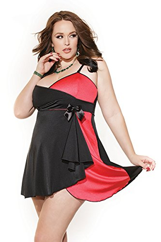 Coquette Women's Plus-Size Reversible Pink Or Red Baby Doll and G-String, Black/Red/Fuchsia, 3X/4X by Coquette
