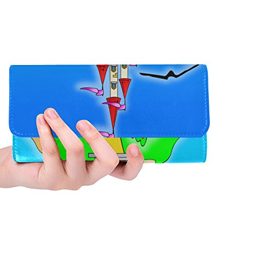 - Unique Custom Castle Hill Scene Turret Flags Tower Cartoon Women Trifold Wallet Long Purse Credit Card Holder Case Handbag