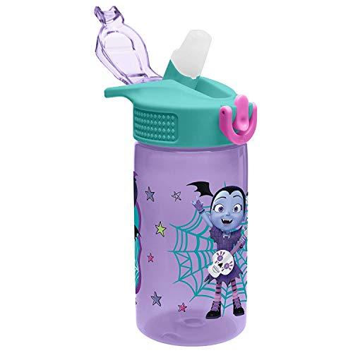 Zak Designs Vampirina & Wolfie Reusable Plastic Water Bottles with Reusable Straw is Perfect for Kids Outdoor/indoor activity (16 oz, BPA-free and Break-resistant) ()