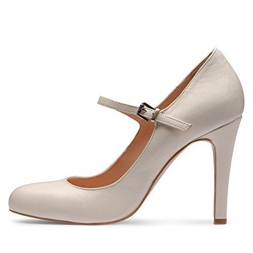 para Shoes mujer de Cremeweiß Evita Blanco Piel Zapatos de vestir nvBqBxYwd