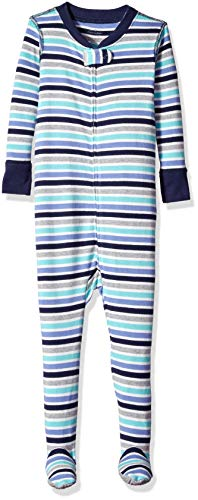 Moon and Back Organic One-Piece Footed Pajamas, Blue Stripe, 4T