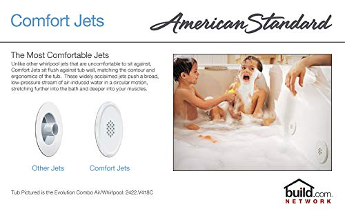 White 6-Inch by 36-Inch American Standard 7236V418C.020 Evolution Combo Massage System