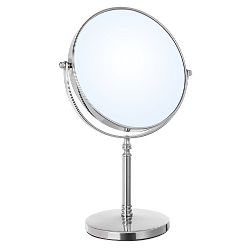 (SONGMICS 8-Inch Large Tabletop Vanity Makeup Mirror Two-Sided 7X Magnifying Swivel Cosmetic Mirror, 14 Inches Height Chrome UBBM07S)