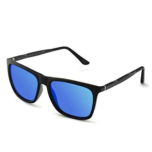 de AMZTM Reflejantes Gafas UV Ultraligero Polarizadas Moda Gafas Caminante 400 Azul Espejos Mujer Protección Hombre de Sol para Wayfarer rrv5wCq