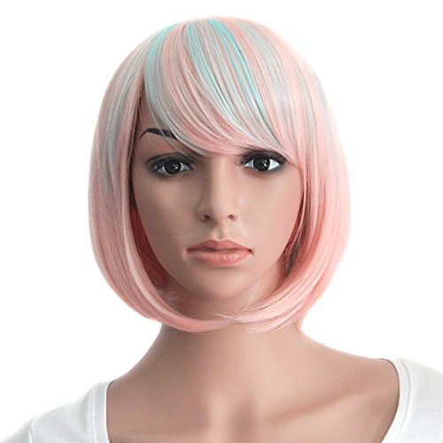 [MapofBeauty Women's Short Straight Cosplay Party Wig BOB Wig (Pink/ Light Blue)] (Blue Wigs For Women)