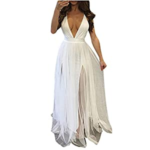 Aiserkly Long Evening Dress Women Sexy V-Neck Sleeveless Cocktail Dress Party Ball Gown Wedding Maxi Dress Halter Neck Festive Dress