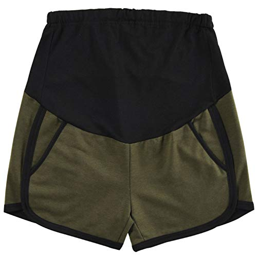 Maternity Active Shorts Summer Cotton Lounge Pregnancy Short Pants High Rize Green M