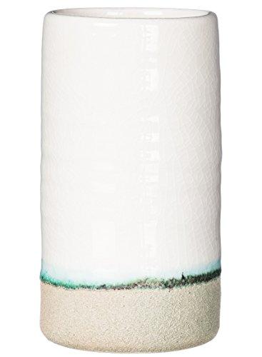 Sullivans White & Turquoise Textured Ceramic Vase (7