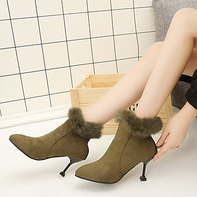 RTRY Women'S Shoes Pu Fall Winter Combat Boots Boots Kitten Heel Pointed Toe Mid-Calf Boots Zipper For Casual Army Green Black US6.5-7 / EU37 / UK4.5-5 / CN37 iOfx2WD1Z