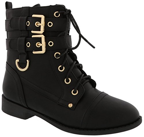 TOP Moda Women's Rachel-6 Fashion Combat Lace Up Buckle Boots,Black, ()