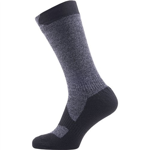 Sealskinz Waterproof Walking Thin Mid Length sock, Dark Grey/Black, Large