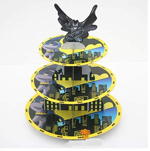 Astra Gourmet 3-Tire Batman Themed Cardboard Party Cupcake Stand Dessert Tower