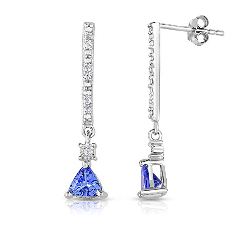 BLOWOUT SALE Sterling Silver Trillion Tanzanite and White Topaz Bar Drop Earrings 1.0 cttw