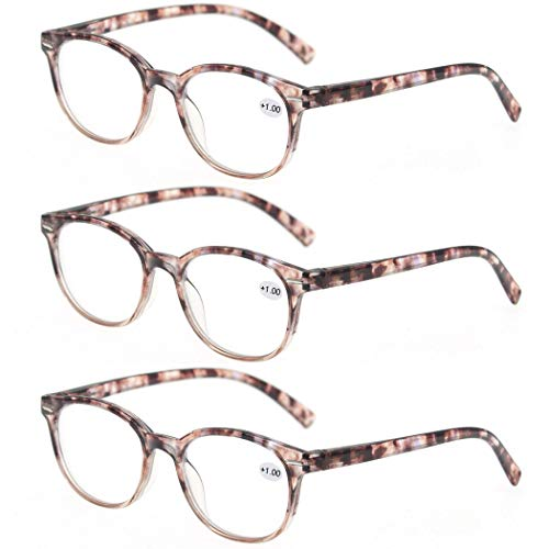 MODFANS Round Stylish Reading Glasses 3 Pair with Spring Hinge Fashion Glasses for Reading for Men and Women +1.50 ()