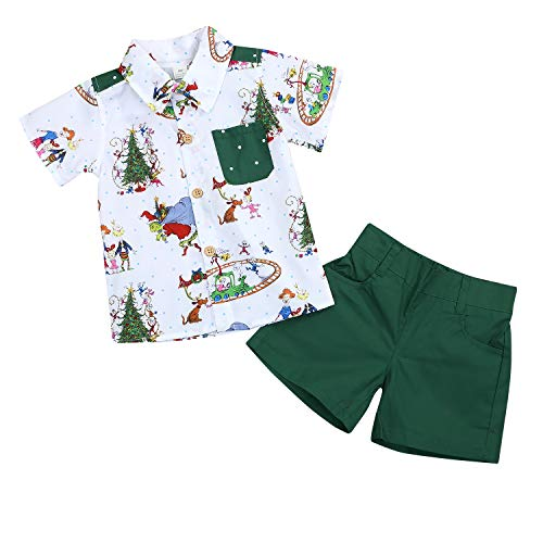 Christmas Outfits Toddler Kids Baby Boy Girl T-Shirt Tops Short Pants Clothes Set Costumes (Green, 3-4T) -