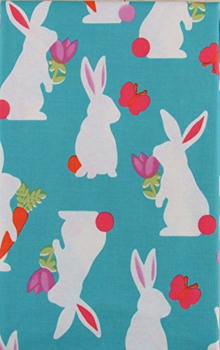 Easter Bunny Silhouettes Vinyl Flannel Back Tablecloth (52
