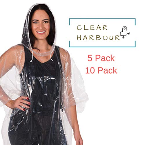 Clear Harbour Emergency Disposable Rain Poncho Pack for Adults | Women and Men's Rain Ponchos in Bulk | Extra Thick, Waterproof Reusable .03mm PE Plastic Material for Travel, Survival, and Fun.]()