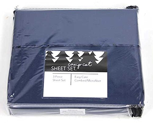 Folding Fitted Bed Sheets - Camp Cot Size Bed Sheet Set - Summer Camp/RV Cot Size Bedding - 3 Piece Set - 28 Inches x 72 Inches - Navy Blue