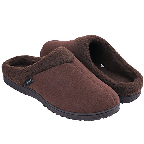Snug Leaves Mens Cozy Memory Foam Slippers Wool Plush Fleece Lined Indoor Outdoor House Shoes (Medium, Coffee) -