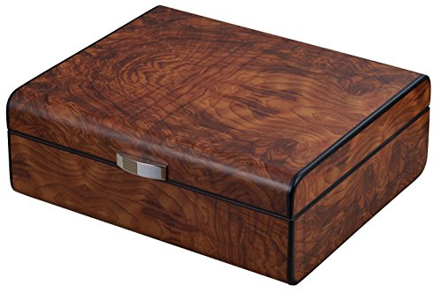 Visol Widar Burlwood Cigar Humidor with Free Laser Engraved Metal Plate (Text)