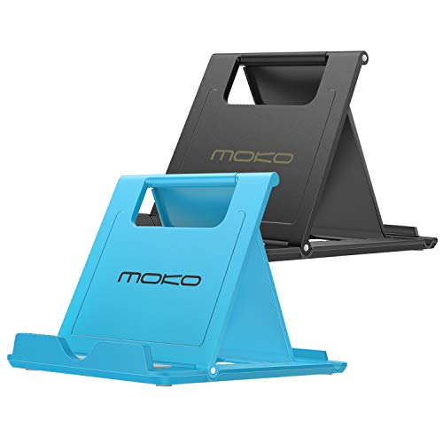 MoKo [2 Pack] Cellphone/Tablet Stand, Foldable Multi-Angle Desktop Holder Fit with iPhone Xs/Xs Max/XR/X Galaxy S10e/S10/S10+ New iPad Air 3rd Gen iPad Mini 5th Gen Nintendo Switch, Black & Blue