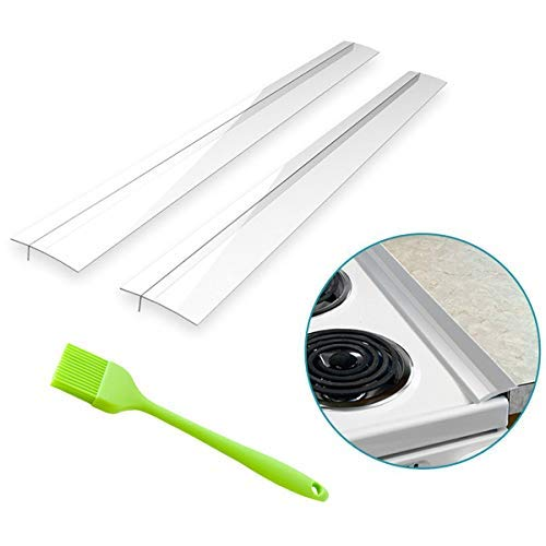 """a2zchef (2 Pack) Premium 21"""" Silicone Kitchen Stove Counter Gap Cover Long & Wide Gap Filler Seals Spills Between Counters, Stovetops, Oven   Heat-Resistant and Easy Clean   FDA Approved BPA FREE Non Toxic   BONUS SILICONE BASTING BRUSH   a2z 1 Year Warranty (Milky Frosted Clear)"""