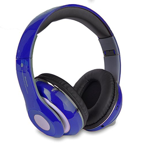 Altatac Bluetooth Rechargeable Over Ear Headset Foldable Wireless Wired Headphones Memory Card Slot Built-In FM Tuner Microphone Audio Cable Phone TV Computer MP3 Player - Blue
