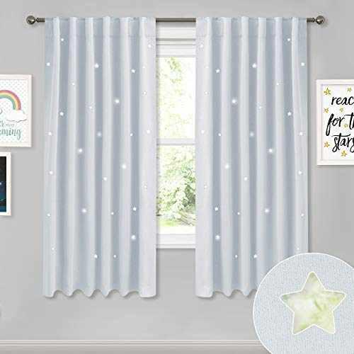 NICETOWN Kids Room Star Curtains - Fashion Zodiac Constellation Drapes with Laser Cutting Out, Thermal Insulated Nursery Bedroom Essential Window Covering (Greyish White, 2 Panels, 52W x 63L)