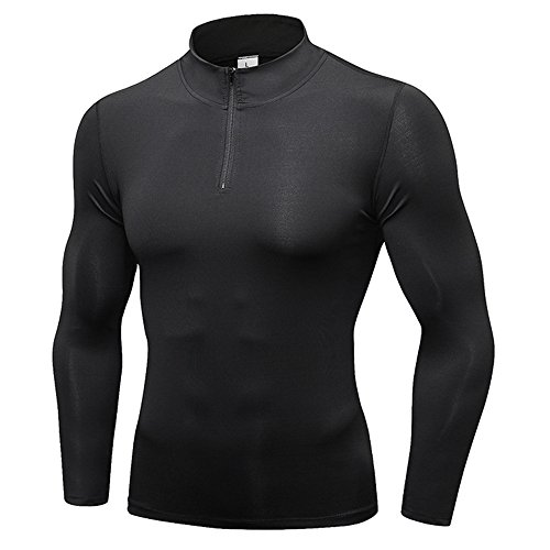 SANKE 1/4 Zip Pull Compression Chemises Tops Homme Manches Longues