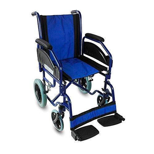 Mobiclinic, Maestranza, Silla de ruedas plegable para ancianos y minusvalidos, silla de ruedas manual, acero, freno en manetas, reposapies y reposabrazos extraibles, Negro y Azul, ligera