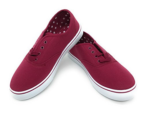 Burgundy Shoes Oxfords (EASY21 Women Canvas Round Toe Lace Up Flat Sneaker Oxford Boat Shoe,Burgundy,Size 7)