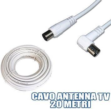 EXTENSION CABLE ANTENA M / F 20 METROS PARA TELEVISION TV VCR ...