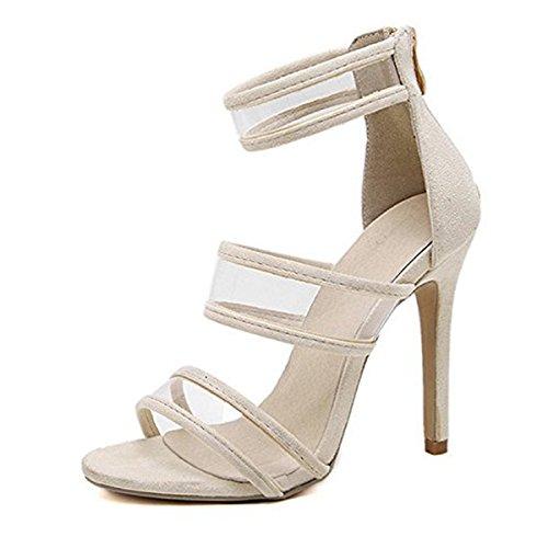 CHNHIRA Sandalias Zapato de Tacón Alto y Fino Para Mujer EN Verano Albaricoque
