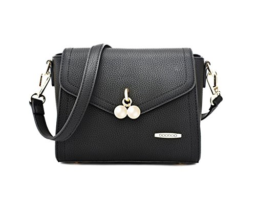 Micom Elegant Pendant Pearl Women Black for Shoulder Bags with Handbag Crossbody rCqUxdwBr