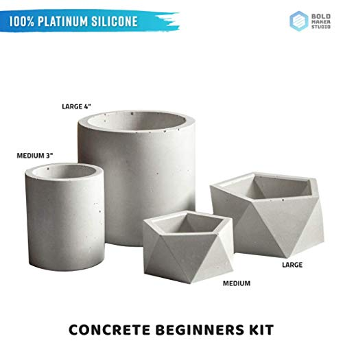 Bold Maker Studios: Beginner Concrete Mold Kit. DIY Concrete/Clay Planter Mold Kit. Silicone Mold Kit. Planter Mold Kit. Premium 100% Platinum-Cure Silicone, Non-Stick.]()