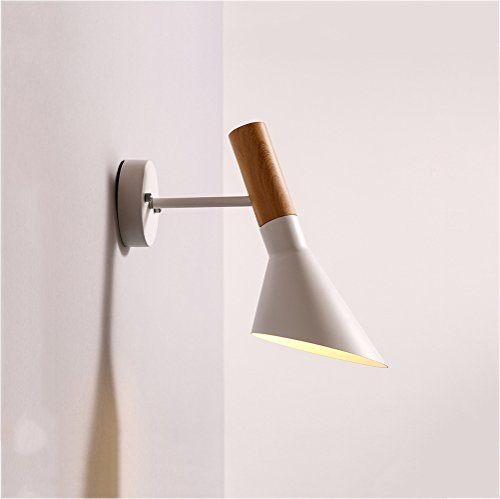 HOIHO Modern Can be rotated Lighting Wall Mounted Bedside Reading Light Iron Art Creative Wall lamp Living Room Foyer Home Lighting Rustic Wall Sconces ( Color : White ) - Fixed Arm Wall Lamp