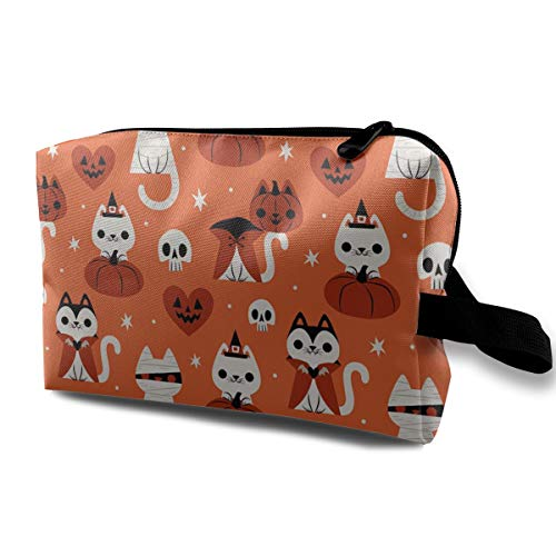 JimHappy Toiletry Jewelry Bag Halloween Cat Cartoon Casual Organizer Portable