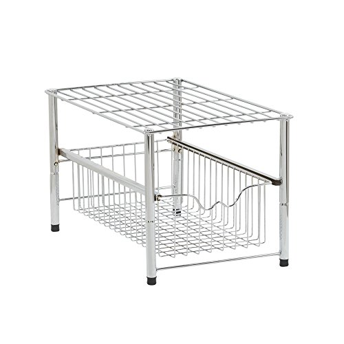 Household Essentials Free Standing Single Pull Out Baskets Under Cabinet Organizer, Silver ()