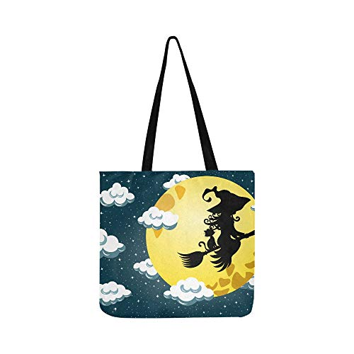 Halloween Witch Lulu Flying Silhouette Moon Canvas Tote Handbag Shoulder Bag Crossbody Bags Purses For Men And Women Shopping Tote ()