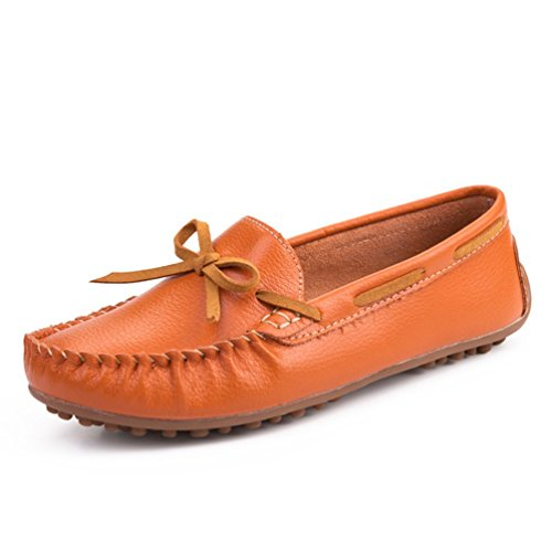 SUNROLAN Demi Womens Leather Driving Moccasins Slip-On Penny Loafer Dress Flat Shoes Orange