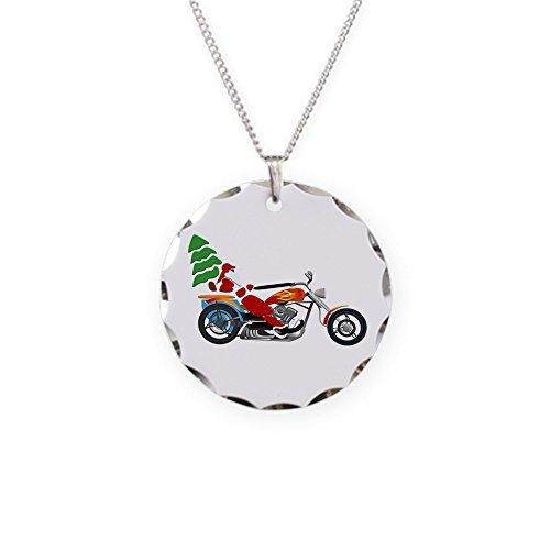 Necklace Circle Charm Holiday Biker Santa on his Motorcycle / Chopper