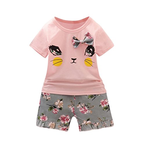 eded48139b10b3 Fineser 2PCS Toddler Baby Girls Summer Clothes Cat Print Short Sleeve Shirt  Tops+Shorts Outfits