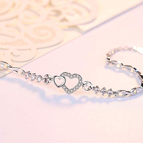 Jenny.Ben S999 Sterling Silver Ladies Bracelet Diamond-Studded Heart-Shaped Fashion Simple@S02 Bracelet (White Diamond)_S999